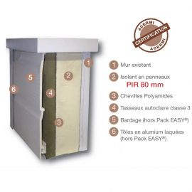 Solution d'ITE Packeasy sans fixation - entraxe 600 - PIR 80 - 27 x 45 mm
