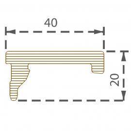 Profilé de finition 40x20 mm brun écorce pour 9562
