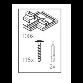 100 clips de fixation pour bardage 2730 + 110 vis + 2 embouts par boîte