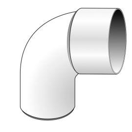 Coude PVC 87.30° diam. 80 mm Blanc