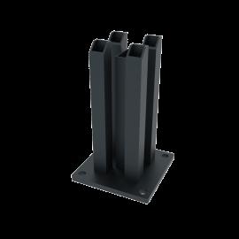 Platine acier gris 120 x 120 x 200 mm